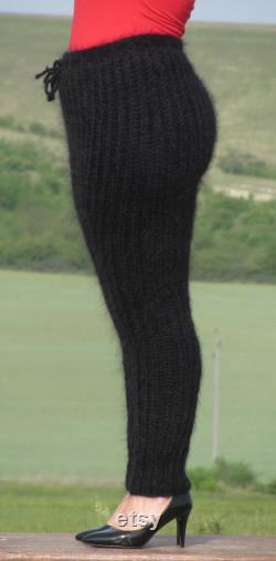 MOHAIR BLACK Designer Hand Knitted Pants Legwarmers Trousers Ribbed Soft Fluffy