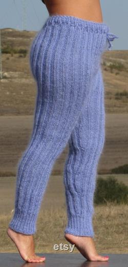 MOHAIR BLUE pants thick hand knitted trousers leggings Ribbed Fluffy Soft