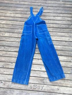 M Key overalls workwear denim dungareees vintage blue jean jeans overalls S M L size small medium to large oversized made in USA America 32