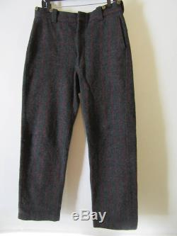 Made in USA, Vintage L.L. Bean Maine Guide, Wool Pants, hunting fishing cross country ski lumberjack trousers windowpane plaid gray and maroon