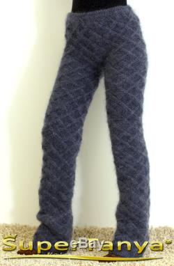 Made to order hand cable knitted fuzzy mohair pants, fluffy trousers in bluish gray by SuperTanya