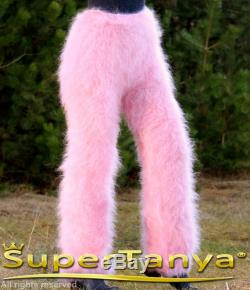 Made to order hand knit fuzzy mohair pants, fluffy trousers in light pink by SuperTanya
