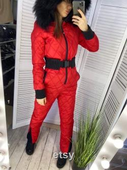 Man Woman Winter Overall Ski Suit Jumpsuit Nylon Playsuit Tracksuit One Piece Sport Snowboard Vintage Outwear Outfit Glanz Nylon Fur Hood