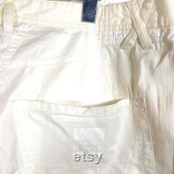 Marithe F. Girbaud 90s NWT white cotton trousers, cool pattern with lot of denim waist and pockets and reinforced knees