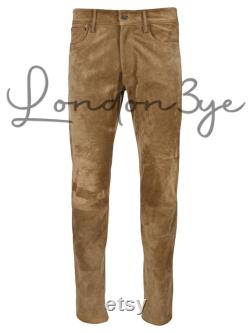 Men Genuine Suede Pants Real Leather Straight Trousers Mens Classic Designer Bottoms Skinny Jeans-LE-220