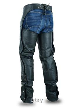 Men Handmade Black Leather Rider Chaps -Real Cow Leather Handmade Motorbike Chaps