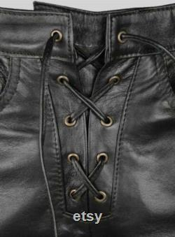 Men Handmade Cowhide Leather Side Pants Trousers Bikers Laces Up
