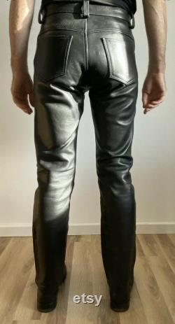 Men Leather Jeans Thigh Fit Outrageously Luxury Pants Trouser Hot