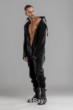 Men black jumpsuit, loose overall, urban fashion clothing, A0308