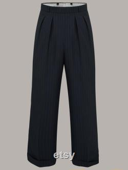 Men's 1940's Trousers in Black Stripe, Navy Stripe or Solid Brown by The Seamstress of Bloomsbury Authentic Vintage 1940's Style