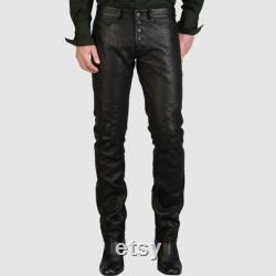 Men's Fashion Light Weight Cow Leather Button Fly Pants Leather Slim Fit,Men's Fashion Tight fitting Pants