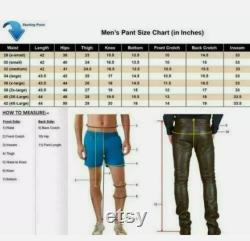 Men's Genuine Leather Chaps With Detachable Cod Gay Trouser Pants BLUF