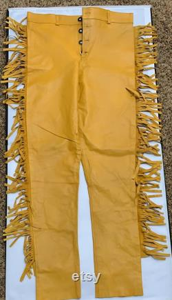 Men's Leather Native American Genuine Cow Leather Western Cowboy Brown Pants Trousers Y2