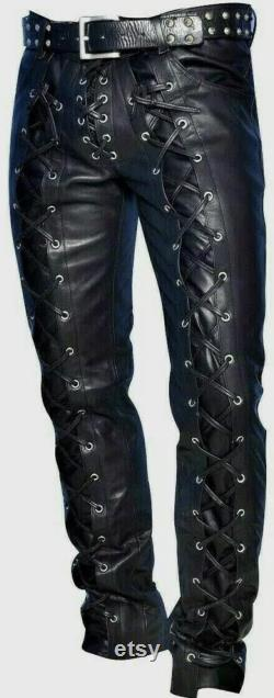 Men s Leather Pants Front and Back Laced Up Black Bikers 100 Real Cowhide Leather