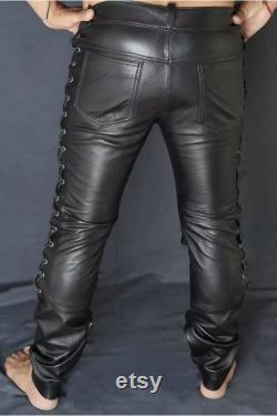 Men s Real Black Leather Pant Motorcycle BLUF Bikers Jeans Trousers and Side Laces