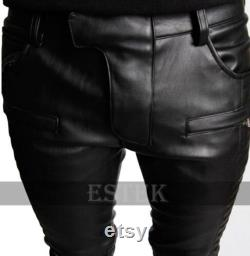 Men's Real Cowhide Black Leather Stylish Biker Pant Quilted Lederhose Breeches Pant Pure Leather trousers New Design With Pockets