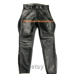 Men's Real Cowhide Leather BLUF Breeches Trousers Pants Bikers Jeans LederBreeches