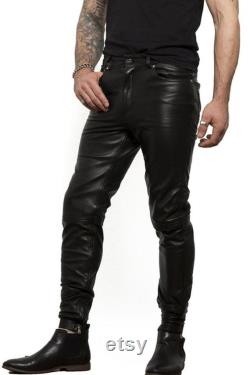 Men's Real High Quality Black Cowhide Leather Slim Fit Pants Luxury Thigh Fit Jeans Trousers zip at Bottom
