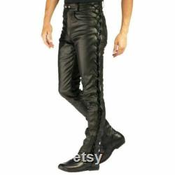 Men's Real Leather Bikers Laces Up Pants Laces Up Bikers Trouser Cowhide Leather Handmade Pant