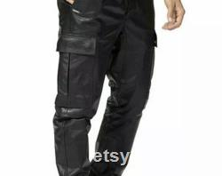 Men's Real Leather Cargo Pants Trousers With Knee Pockets High Quality Leather Genuine Leather Pants