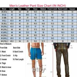 Men's Real Leather High Quality PANT DOUBLE ZIPPED Bikers Pants Jeans Trouser
