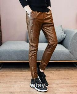Men's Real Leather Slim Fit Motorbike Stylish Party wear Casual Pant Trouser