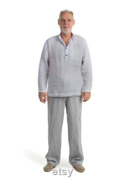 Men's Summer Cloting, Linen Set, Long Sleeve Shirt and Full Lenght Pants, Casual Lightweight Clothing, Minimalist Outfits, Comfortable Garment