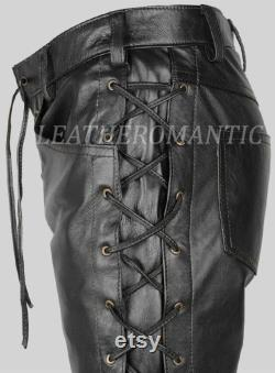 Men's Top Quality Real Leather Trouser Pant Black Laced Motorcycle Style