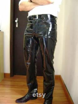 Men's and Boys 100 Genuine High Quality Lambskin High Shine Patent Leather Pants with Straight Jeans style pant