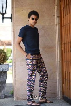 Men's summer trousers in African print fabric colorful summer pants light trousers for men