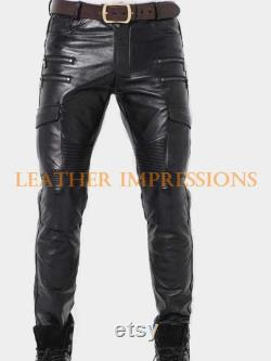 Mens 100 Real Leather Pants Punk Kink Jeans Style BLUF Men Trousers Gay Pant Uniform FETISH Biker Breeches Cuir
