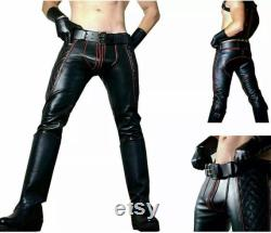 Mens Cowhide Leather Jeans Red Stripes Double Zip Pants Jeans