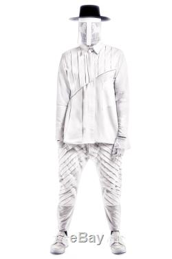 Mens Diagonal pleated pants with calf cuff