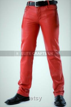 Mens Genuine Lambskin Leather Pants Biker Pants Red Leather Pants Motorbike Party Pants Gift for Men-Handmade Real Leather Motorcycle Pants