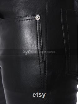 Mens Genuine Leather Pants Steampunk Leather Pants Real Sheep Leather Party Pants Handmade Biker Pants