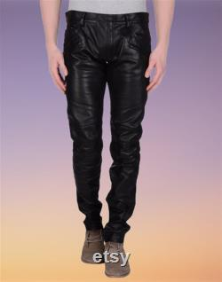 Mens Leather Genuine Lamb Skin Sheep Leather Party Pants Real Leather Handmade Casual Bikers Pant MP040