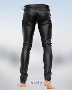 Mens Leather Genuine Lamb Skin Sheep Leather Party Pants Real Leather Handmade Casual Bikers Pant MP049