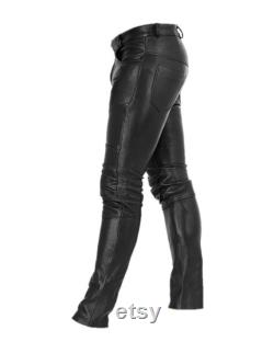 Mens Leather Genuine Sheep Leather Party Pants -Double Closure Real Leather Pant Hand Made