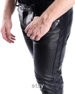 Mens Leather Genuine Sheep Leather Party Pants -Double Closure side Lace Real Leather Pant Hand Made