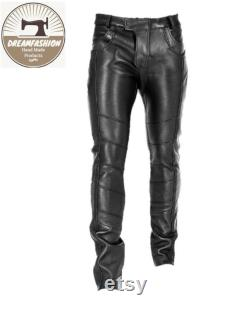 Mens Leather Genuine Sheep Leather Party Pants -Flap Closure Real Leather Pant Hand Made
