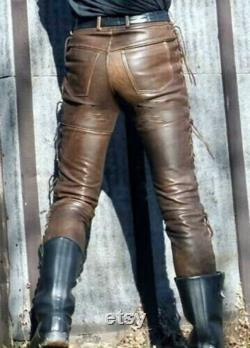 Mens Leather Jeans Pants Trouser 5 Pockets Cowhide Brown Breeches BLUF Levis 501