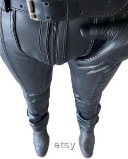 Mens Leather Pant Genuine Sheep Leather Party Pants -Hand Made Quilted Design with Zipper Fron to Back