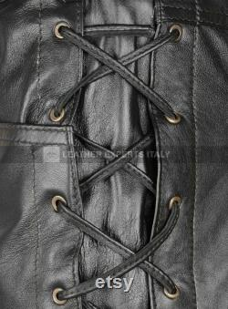 Mens Leather Side Lace Pants Genuine Sheep Skin Leather Pants Mens Pants Cosplay Party Pants Gift for him Handmade Real Leather Pants