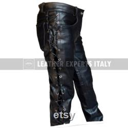 Mens Leather Side Lace Pants Genuine Sheep Skin Leather pants Handmade Real Leather pants