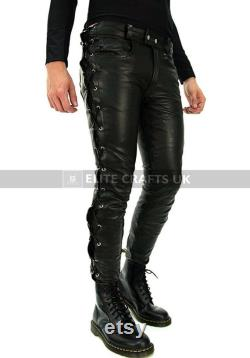 Mens Leather Side Lace Pants Party Pants Genuine Sheep Skin Leather pants Gift for Him Motorbike Biker Pants Handmade Real Leather pants