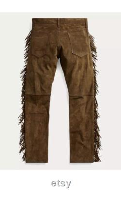 Mens Native American Brown Cowhide suede leather Jeans style pants with fringes