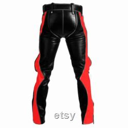 Mens New Bondage Pants Real Black Red Leather Heavy Duty Jeans Bluf (Black-Red)