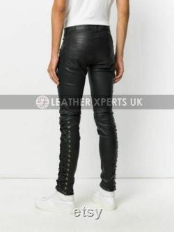 Mens PU Leather Slim Fit Lace Up Bikers Pants Handmade Leather Motorcycle Trouser Gift for Him Hand Crafted Faux Leather Motorbike pants