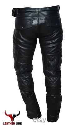 Mens Real Leather Black Pant Lambskin Cargo Pants Trousers for Men Slim fit Handmade Genuine Leather Pants for Men