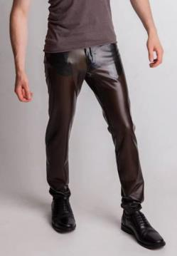 Mens fetish latex jeans stitched un-stitched
